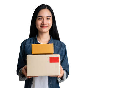 Woman holding cardboard box with clipping path on isolated