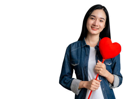 Portrait woman holding heart shape for valentine day with clipping path on isolated 免版税图像