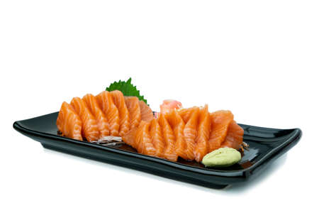 Salmon Sashimi on white background.  Japan food concept