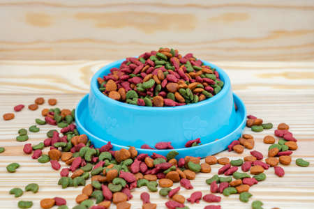 Pet food in bowl on wooden background