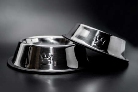 Stack Stainless bowl for pet on black background 免版税图像