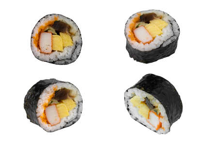 Sushi roll on white background.  Japan food concept