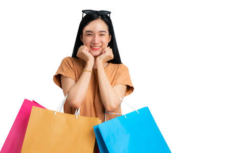 Happy woman is smile in shopping concept