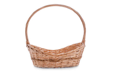 Wicker basket with copy space isolated on white background