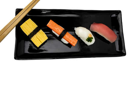 Top view Sashimi  with chopsticks on table.  Japan food concept
