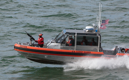 other keywords: San Francisco, CA, USA - May 21, 2016: A US Coast Guard patrol boat cruising in the San Francisco Bay