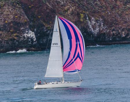keywords: San Francisco, CA, USA - May 21, 2016: A sailboat with a pink and blue sail cruising in San Francisco.