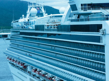 Ketchikan, AK, USA - May 24, 2016:  Profile of the cruise ship Grand Princess departing port of Ketchikan, Alaska.