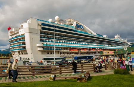 Ketchikan, AK, USA - May 24, 2016:  The cruise ship Grand Pricess at dock in Ketchikan, Alaska. Editöryel