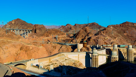 mead: Las Vegas, NV, USA - May 9, 2016:  Vistas of Hoover Dam, Lake Mead and the Mike OCallaghan�Pat Tillman Memorial Bridge located near to Las Vegas, Nevada.