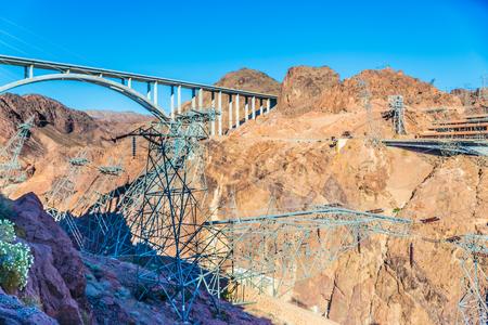 hoover: Las Vegas, NV, USA - May 9, 2016:  Vistas of Hoover Dam, Lake Mead and the Mike OCallaghan�Pat Tillman Memorial Bridge located near to Las Vegas, Nevada.