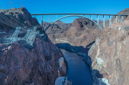 hoover dam: Las Vegas, NV, USA - May 9, 2016:  Vistas of Hoover Dam, Lake Mead and the Mike OCallaghan�Pat Tillman Memorial Bridge located near to Las Vegas, Nevada.