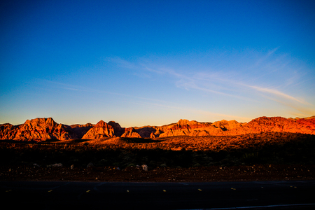 red rock national conservation area: Las Vegas, NV, USA - November 5, 2015:  Rock formations and vista found at Red Rock Canyon National Conservation Area near Las Vegas, Nevada. Stock Photo