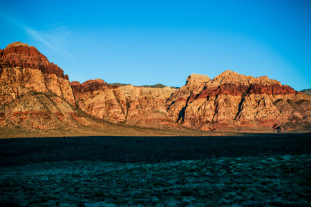 Las Vegas, NV, USA - November 5, 2015:  Rock formations and vista found at Red Rock Canyon National Conservation Area near Las Vegas, Nevada. Stock Photo