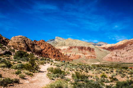 other keywords: Las Vegas, NV, USA - November 5, 2015:  Rock formations and vista found at Red Rock Canyon National Conservation Area near Las Vegas, Nevada. Stock Photo