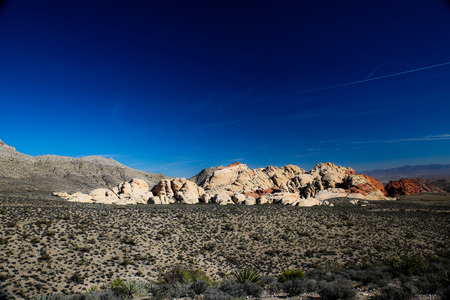 Las Vegas, NV, USA - November 5, 2015:  Rock formations and vista found at Red Rock Canyon National Conservation Area near Las Vegas, Nevada. Editorial
