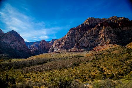 nv: Las Vegas, NV, USA - November 5, 2015:  Rock formations and vista found at Red Rock Canyon National Conservation Area near Las Vegas, Nevada. Stock Photo