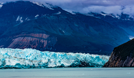 Hubbard Glacier, Alaska, USA - Sept. 11, 2016: This tidewater glacier is located in eastern Alaska and is part of Yukon Canada, off the coast of Yakutat—200 miles NW of Juneau Alaska. it is more than six miles wide where it meets the ocean. Stock Photo