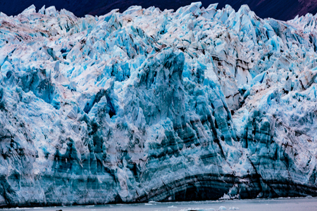 disenchantment: Hubbard Glacier, Alaska, USA - Sept. 11, 2016: This tidewater glacier is located in eastern Alaska and is part of Yukon Canada, off the coast of Yakutat—200 miles NW of Juneau Alaska. it is more than six miles wide where it meets the ocean. Editorial