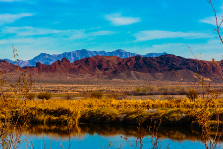 Las Vegas, Nevada, USA - Feb. 14, 2016:  View to the East from Las Vegas is Sunrise and Frenchman Mountains as seen from the Henderson Bird Viewing Preserve. Editorial