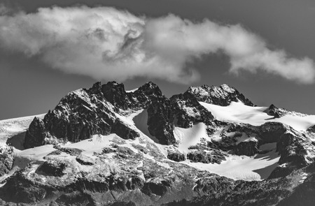 Whistler, BC, Canada - Sept. 21, 2016:  The four major peaks of the Tantalus Range are named Alpha, Serratus, Dione and Tantalus (2603m). Stock Photo