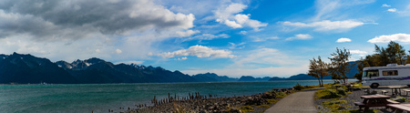Seward, Alaska, USA - Sept. 8, 2016:  Spectacular RV camping spot in Seward, Alaska overlooking Resurrection Bay and the Kigluaik Mountains.