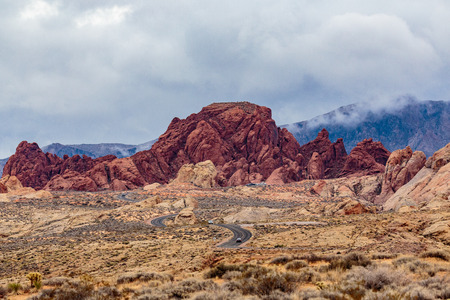 Valley of Fire State Park, Nevada, USA - December 23, 2106:  Panorama of the many spectacular red rock formations found in this state park located near Overton, Nevada and 55 miles northeast of Las Vegas.