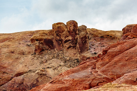 other keywords: Valley of Fire State Park, Nevada, USA - December 23, 2106:  Panorama of the many spectacular red rock formations found in this state park located near Overton, Nevada and 55 miles northeast of Las Vegas.