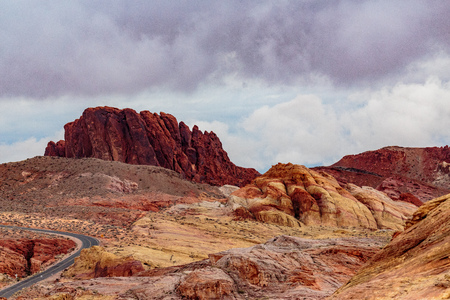 red rock: Valley of Fire State Park, Nevada, USA - December 23, 2106:  Panorama of the many spectacular red rock formations found in this state park located near Overton, Nevada and 55 miles northeast of Las Vegas.