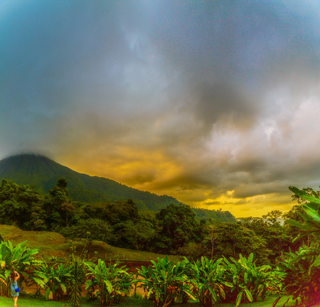 La Fortuna, Costa Rica - April 4, 2017:  Arenal Volcano is an active andesitic stratovolcano in north-western Costa Rica around 90 km northwest of San José, in the province of Alajuela, canton of San Carlos, and district of La Fortuna.  Elevation 5479 Editorial
