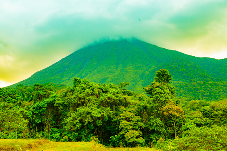 other keywords: La Fortuna, Costa Rica - April 4, 2017:  Arenal Volcano is an active andesitic stratovolcano in north-western Costa Rica around 90 km northwest of San José, in the province of Alajuela, canton of San Carlos, and district of La Fortuna.  Elevation 5479 Editorial