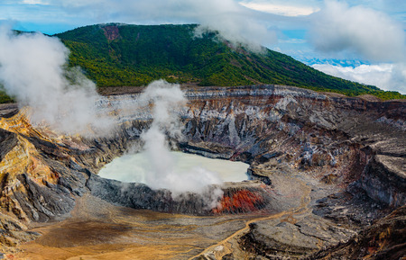 San Jose, Costa Rica - April 3, 2017: The Poas Volcano, (Spanish: Volcán Poás), is an active 2,708-metre (8,885 ft) stratovolcano in central Costa Rica. It has erupted 40 times since 1828, including April, 2017 when visitors and residents were evac