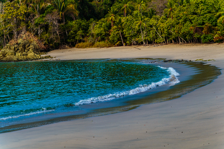Manuel Antonio NP, Costa Rica - April 8, 2017:  Beautiful and secluded Playa Manuel Anotnio on the Pacific Coast of Costa Rica Stok Fotoğraf