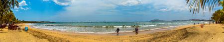 Playa Tamarindo, Costa Rica - April 6, 2017:  Panorama of the beach at Tamarindo in Guanacaste, Costa Rica. Editorial