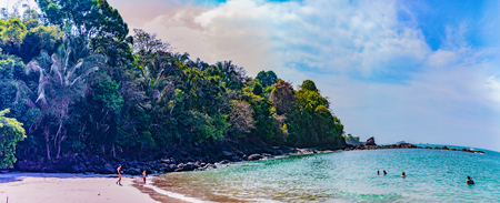 Manuel Antonio NP, Costa Rica - April 8, 2017:  Beautiful and secluded Playa Manuel Anotnio on the Pacific Coast of Costa Rica Editorial