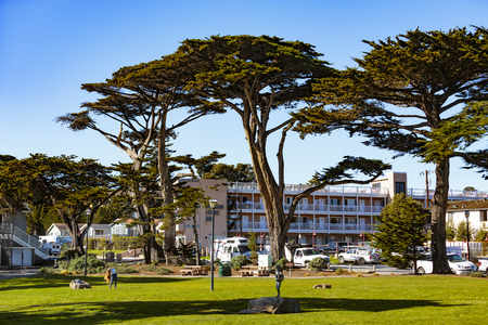 Pacific Grove, California - USA; February 20, 2018; Located between Monterey and Pebble Beach, visitors to Pacific Grove enjoy  stunning sea views, Lovers Point Park, Otters Cove.500 year old Monterey Cypress trees and a relaxed lifestyle. Editorial
