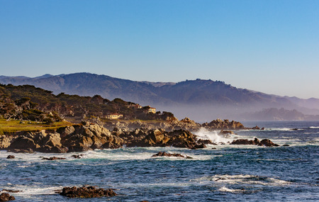 Pebble Beach, California, February 17, 2018: Beautiful sea and rocky point vista along the 17 Mile Drive south of Cypress Point Golf Course overlooking Sunset Point.