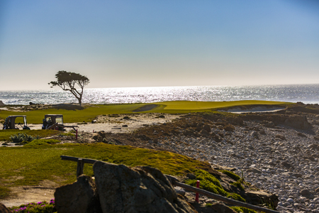 Golf course views of seaside links of the Monterey Peninsula Country Club, located on the 17 Mile Drive. Point Joe, Del Monte Forest, California,