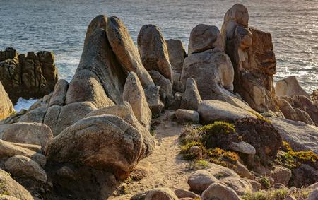 Rock formations add to to the seashore vistas near Pebble Beach, California