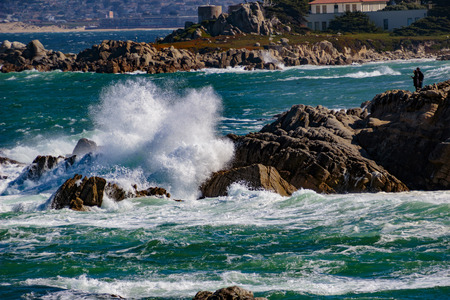 Pacific Grove, California - USA; February 20, 2018; Located between Monterey and Pebble Beach, visitors and residents to Pacific Grove enjoy  stunning sea views, Lover's Point Park, Otter's Cove, 500 year old Monterey Cypress trees and a relaxed lifestyle Stok Fotoğraf - 100795747