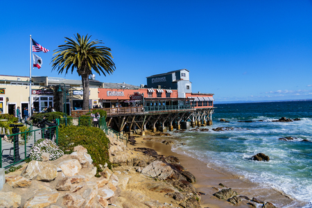 Monterey, California, February 19, 2018:  Historic Cannery Row, Fishermans Wharf and marina are dotted with monuments and sculptures.