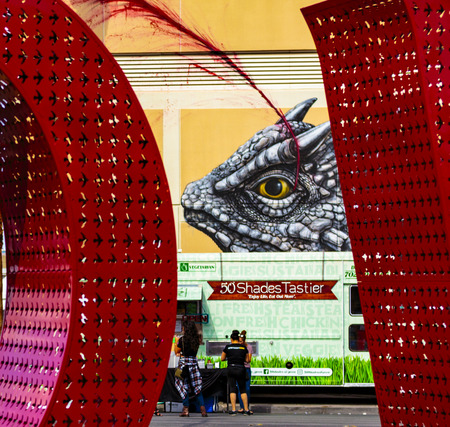 Las Vegas, NV, USA - September 22, 2017:  Art, murals, signs and public spaces at the 2017 Life is Beautiful music festival staged in downtown Las Vegas. Editöryel