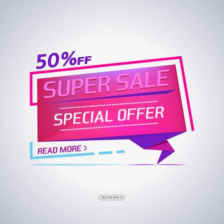 paper hanger: Super Sale paper banner. Sale background. Big sale. Sale tag. Sale poster. Sale vector. Super Sale and special offer. 50% off. Vector illustration. Illustration