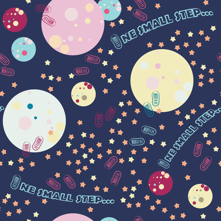 Seamless pattern with space, stars and the first moon landing and typography