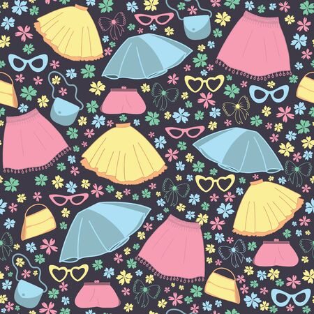 Vector skirts, glasses and bags seamless pattern background 矢量图像
