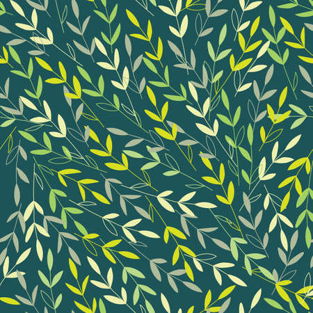 Vector branches with leaves in the wind. Dark green background. Perfect for wrapping paper, wallpaper, textile design, stationery. Seamless pattern Vector Illustratie