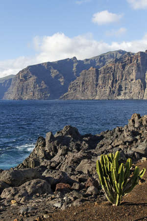 the rock of Los Gigantos - canary island Stock Photo