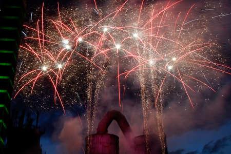 Fireworks behind a blast furnace
