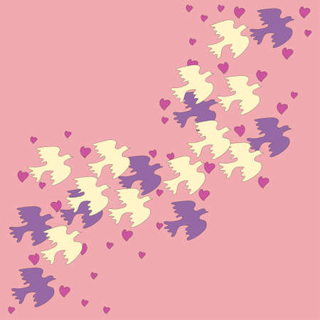 A flock of birds on a pink background