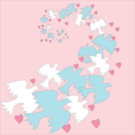 Flock doves with hearts on a pink background Stock Vector - 14631242
